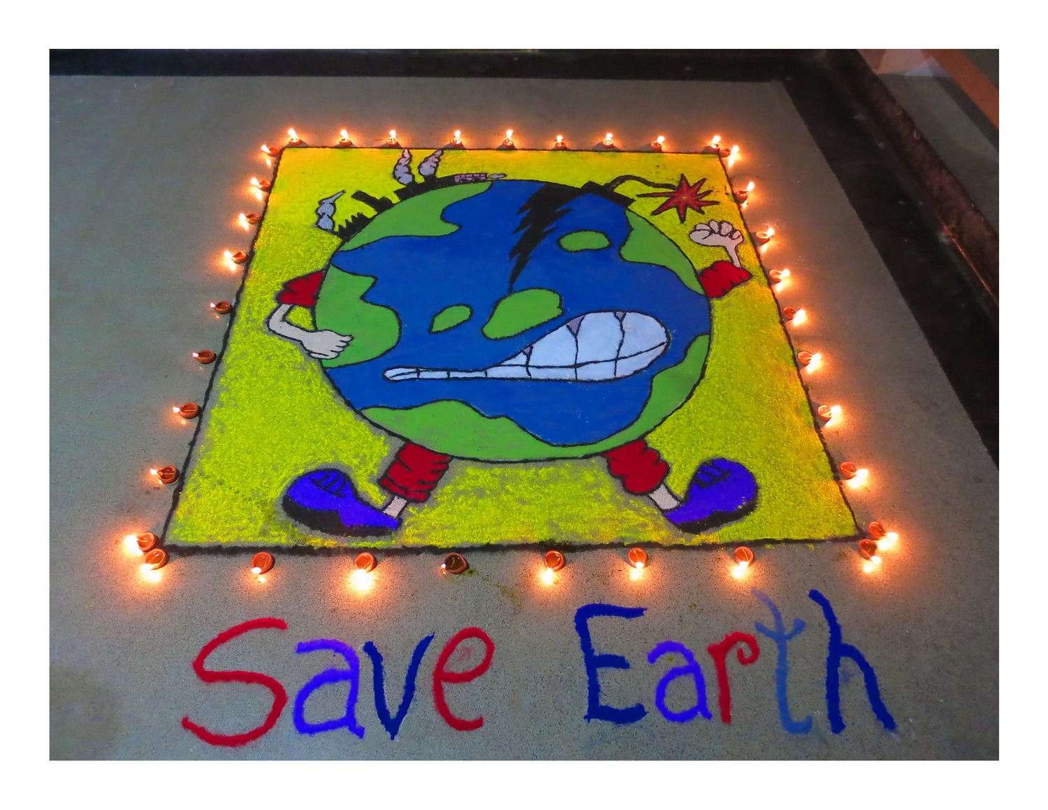 save-earth-rangoli